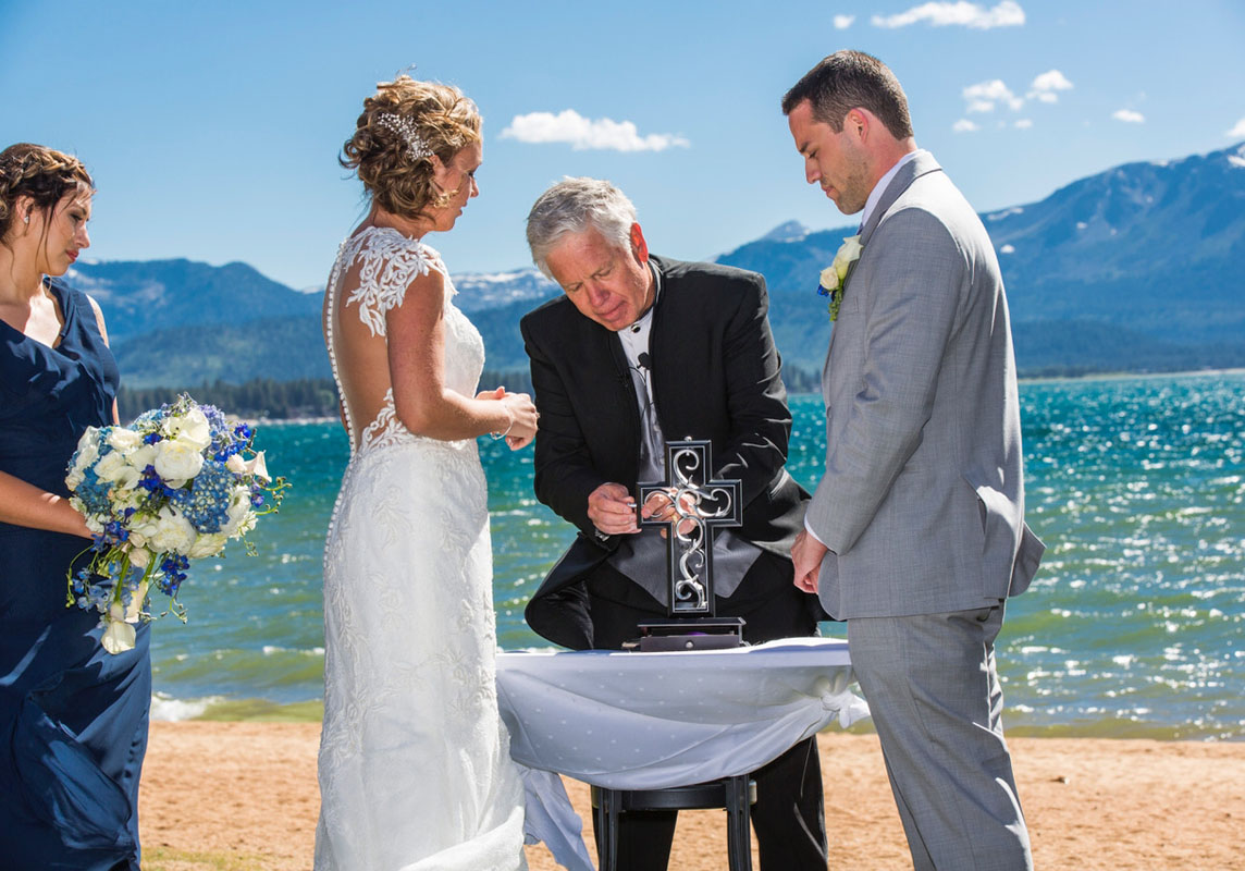 wedding ceremony on Lake Tahoe beach