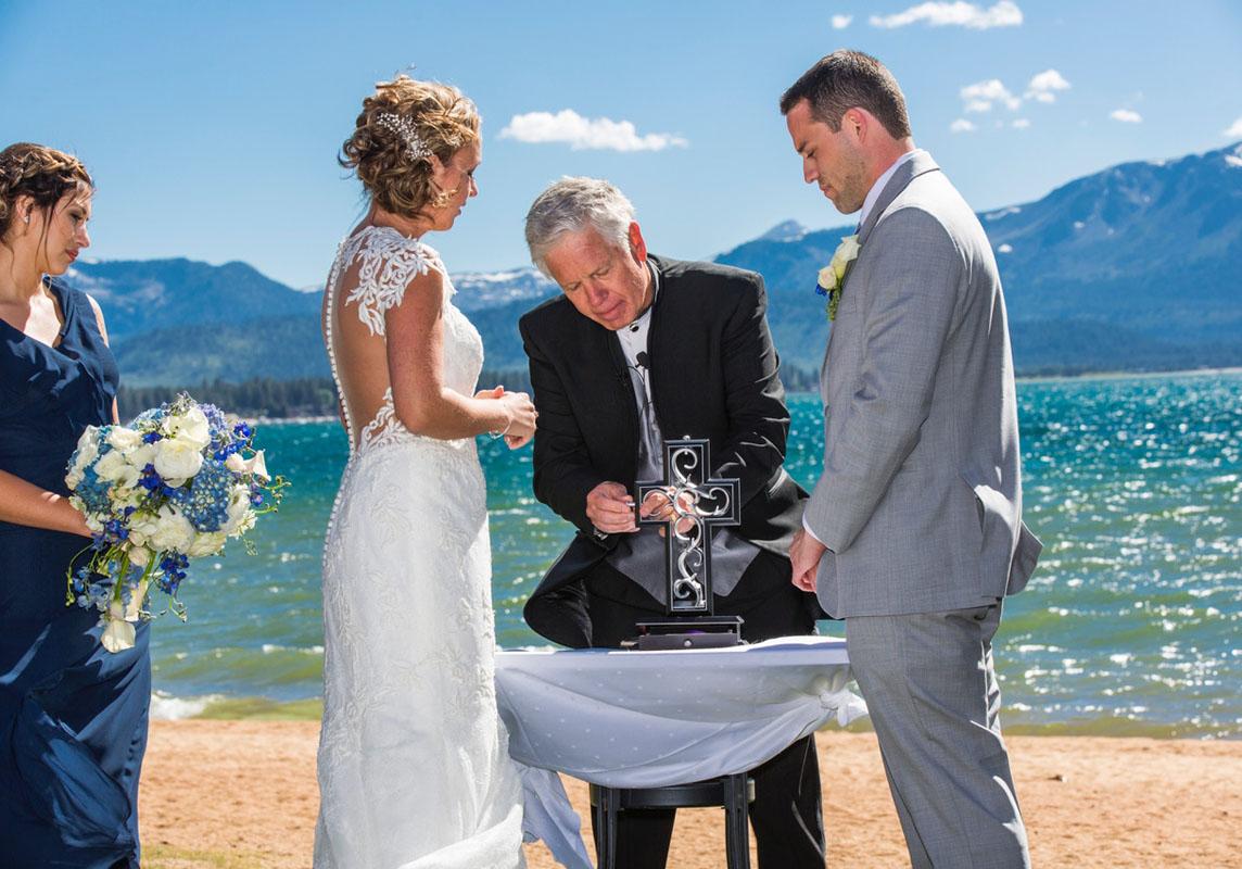 wedding ceremony on Lake Tahoe beach