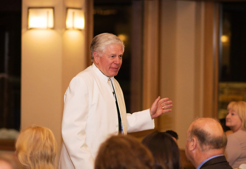 Rev. Mark Frady addressing guests Lake Tahoe wedding