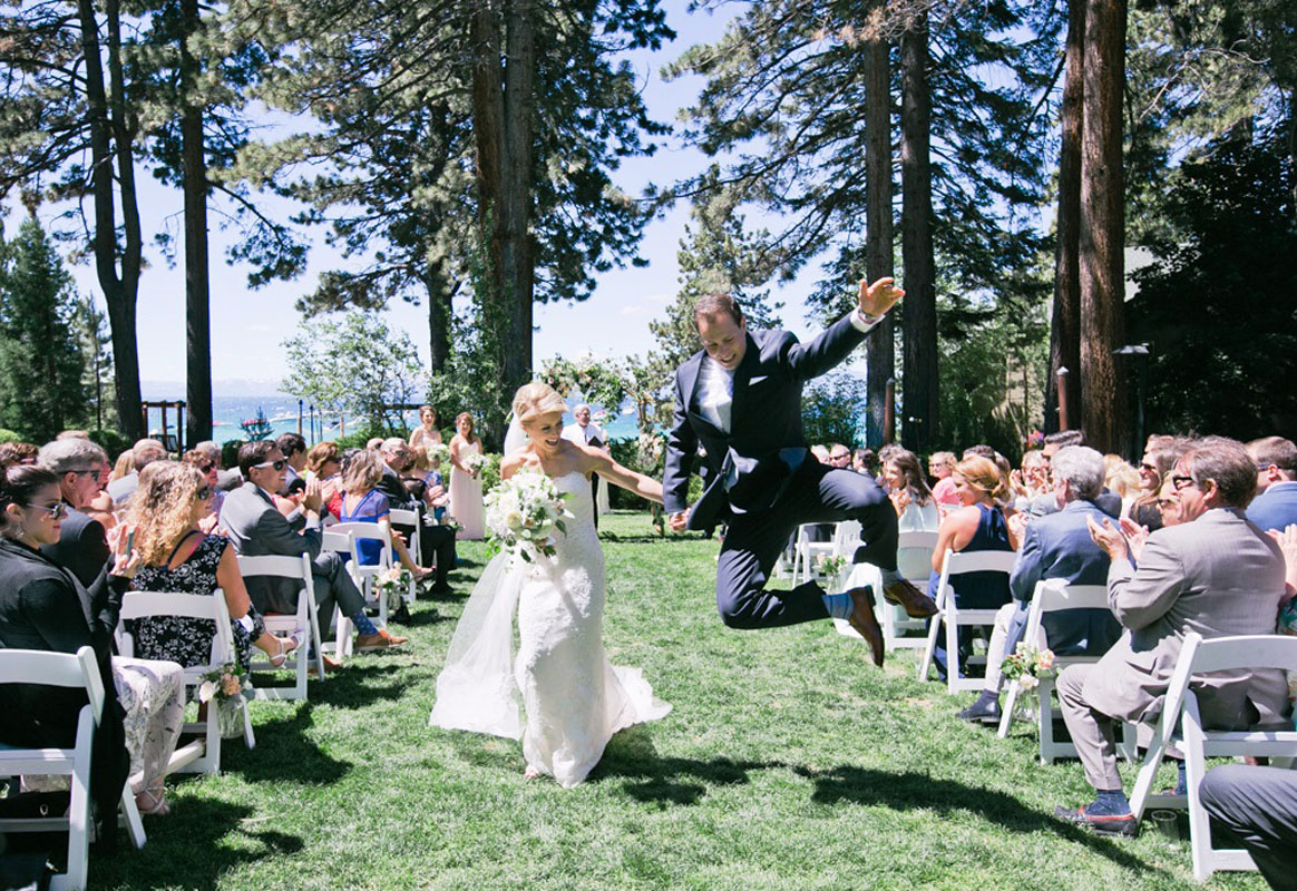 Couple down aisle Lake Tahoe wedding Hyatt Regency