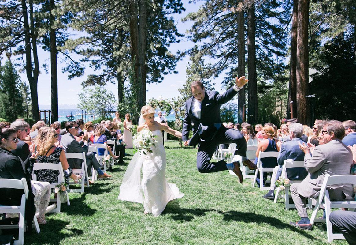 Couple down aisle Lake Tahoe wedding Hyatt Regency