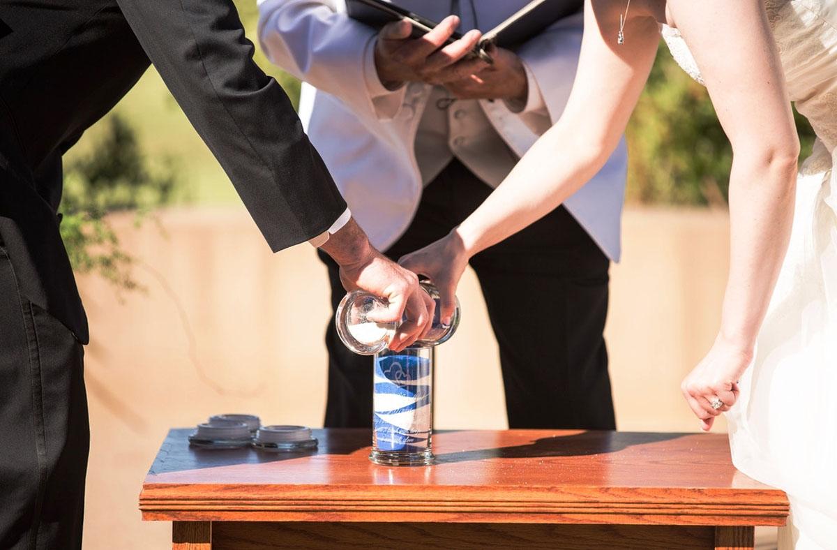 sand blending wedding ceremony Lake Tahoe