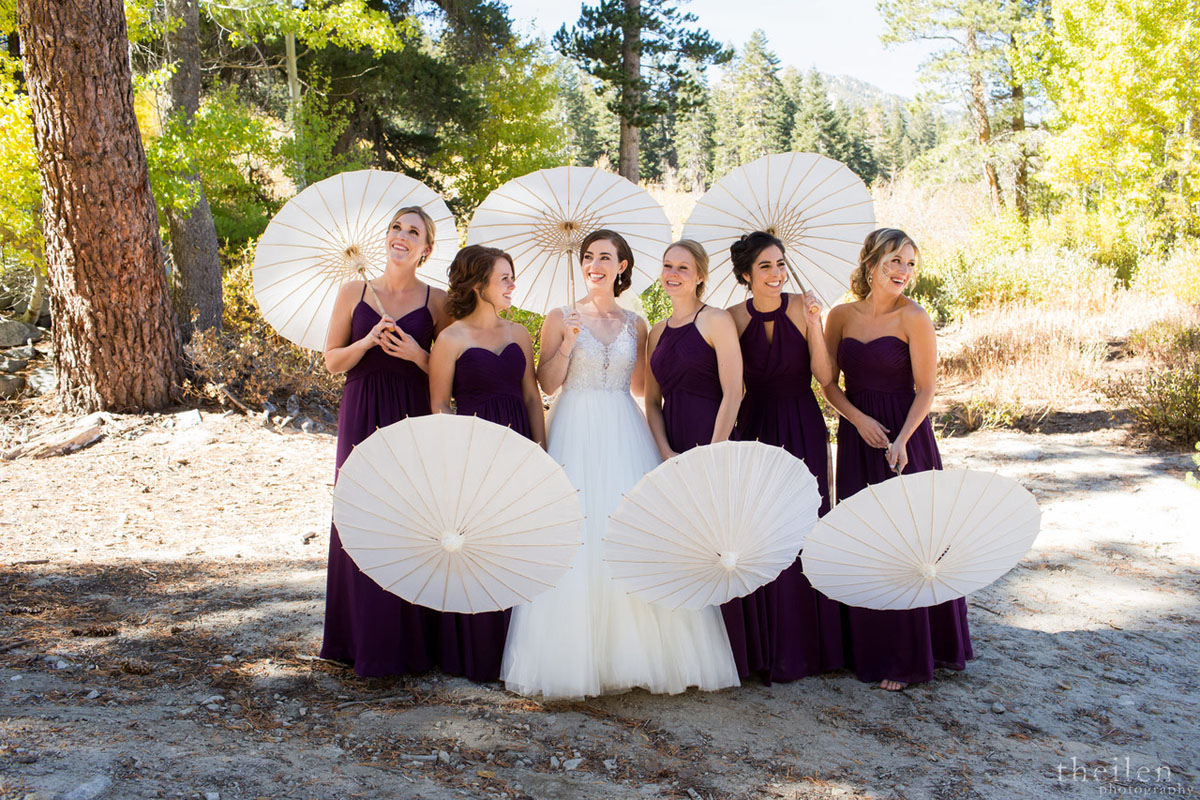 bridal party with parasols Lake Tahoe wedding