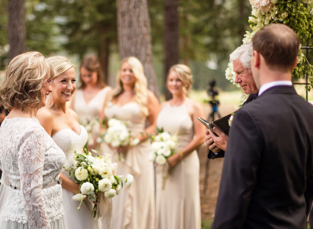 bride down aisle wedding ceremony Lake Tahoe