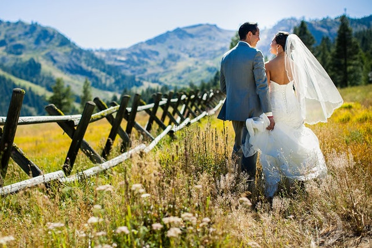 Lake Tahoe wedding Squaw Valley - couple walking in meadow