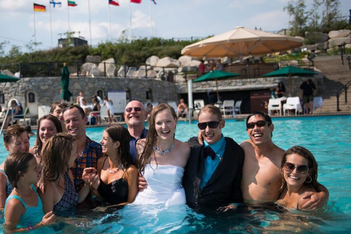 Lake Tahoe wedding Squaw Valley - wedding party in pool