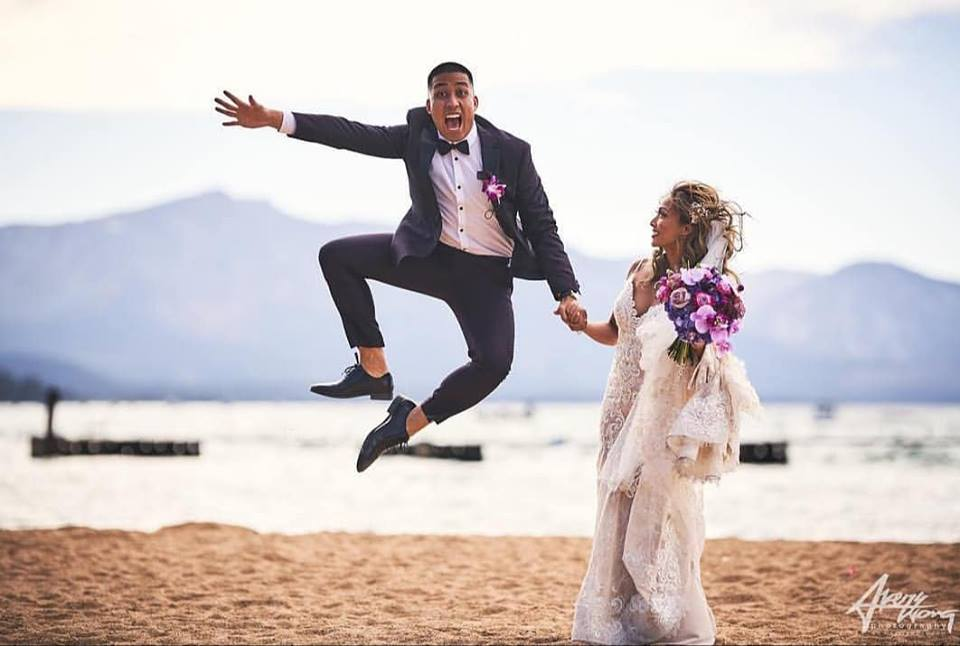 Groom kicking up his heels - Avery Wong Photography - Stephanie Marie & Co. wedding planner Lake Tahoe
