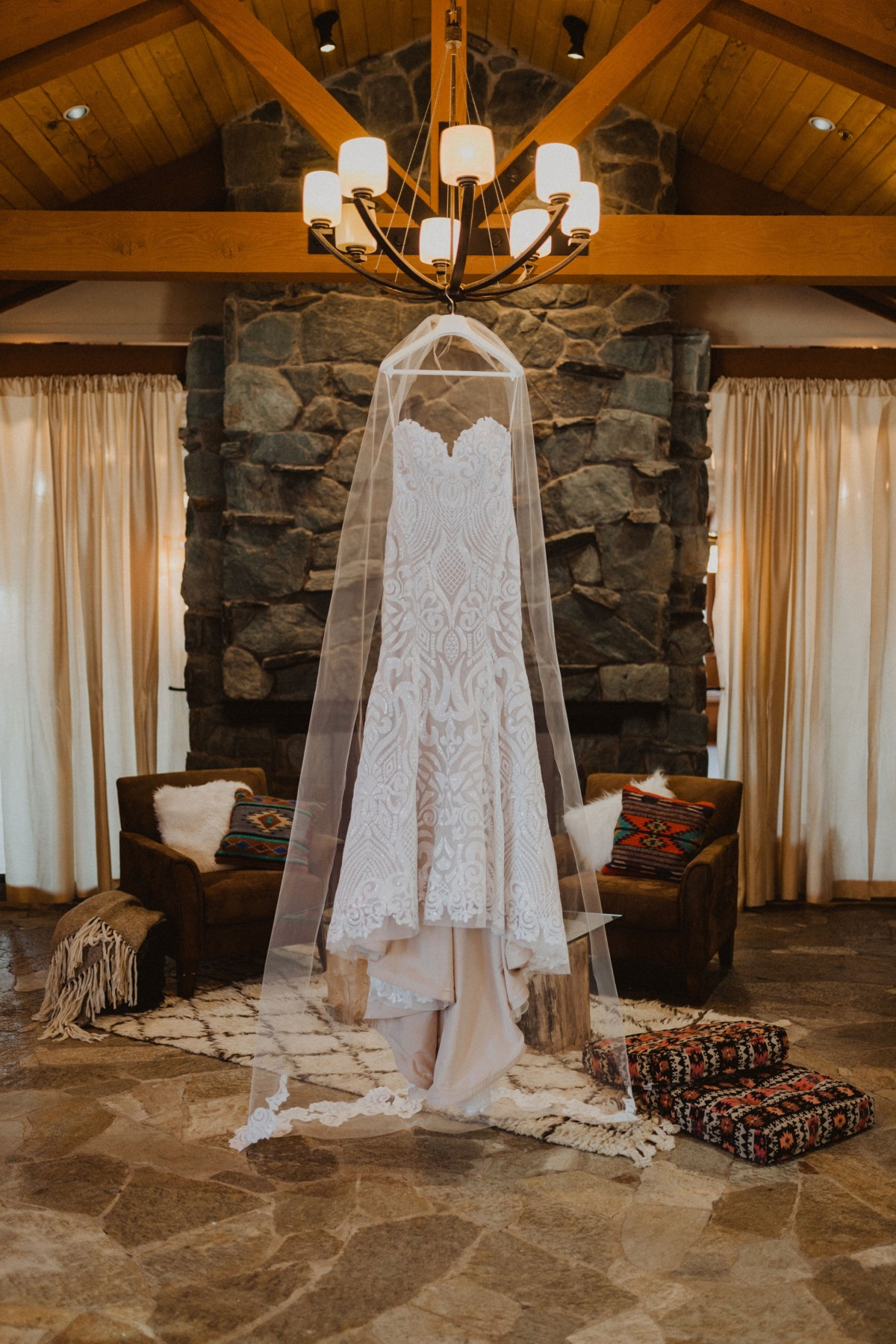 Tannenbaum by Roundabout Lake Tahoe wedding - bridal gown