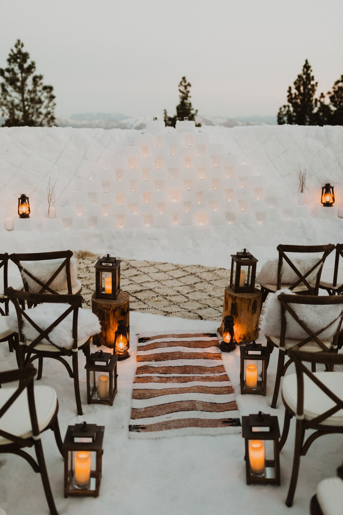 Tannenbaum by Roundabout Lake Tahoe wedding - ceremony area winter decor