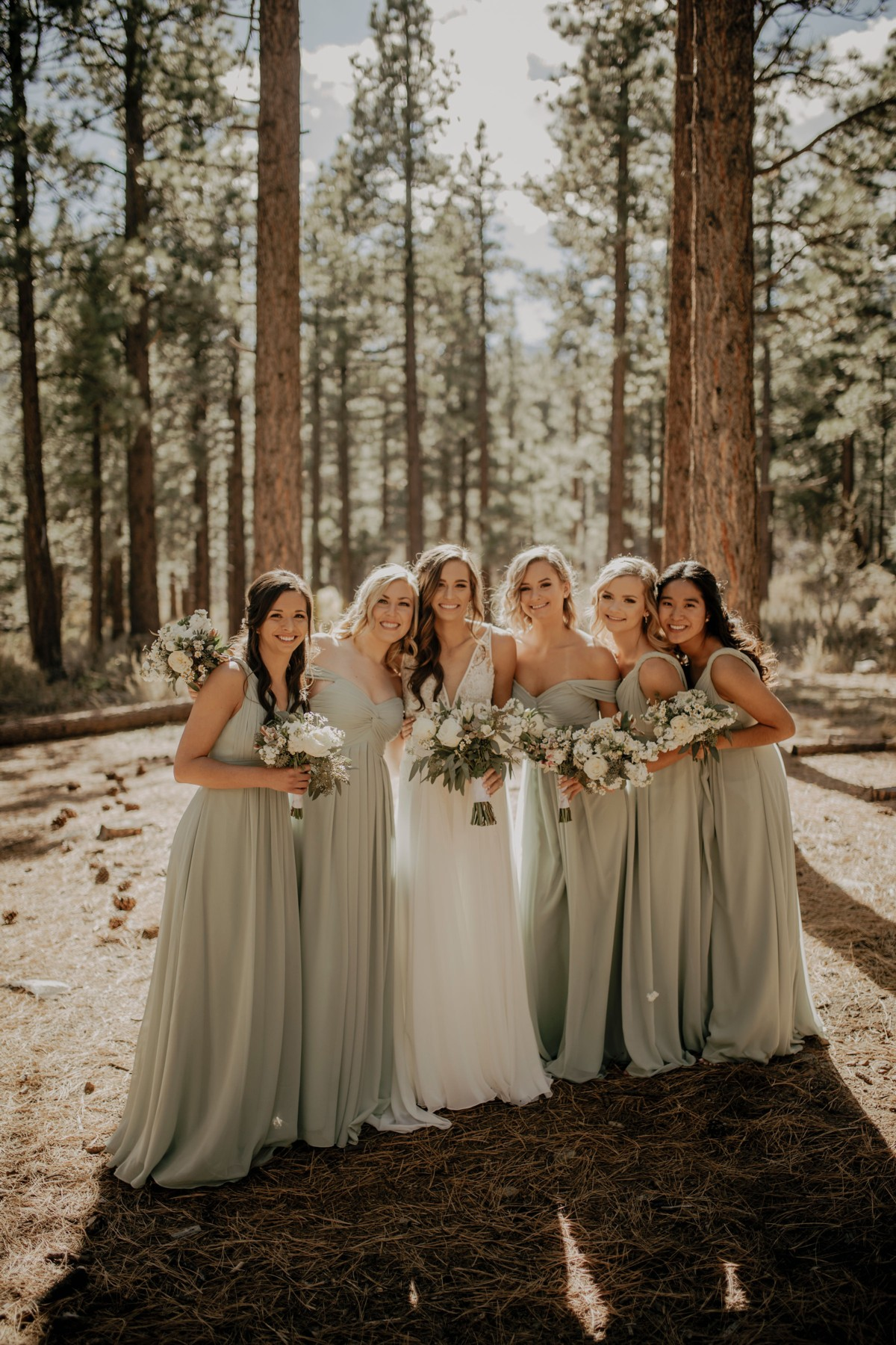 Tannenbaum by Roundabout Lake Tahoe wedding - bridal party in woods