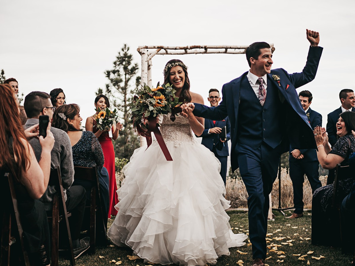 Tannenbaum by Roundabout Lake Tahoe wedding - couple down aisle