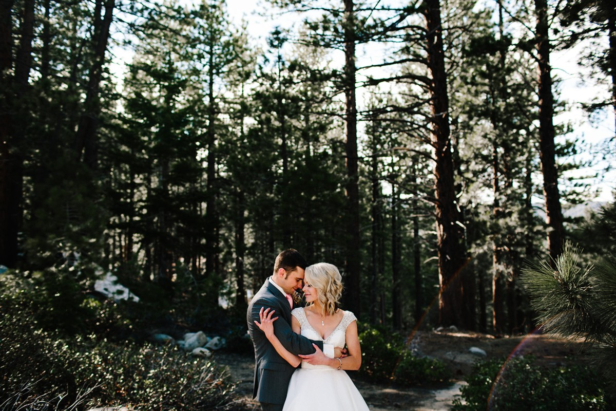 Tannenbaum by Roundabout Lake Tahoe wedding - couple in woods