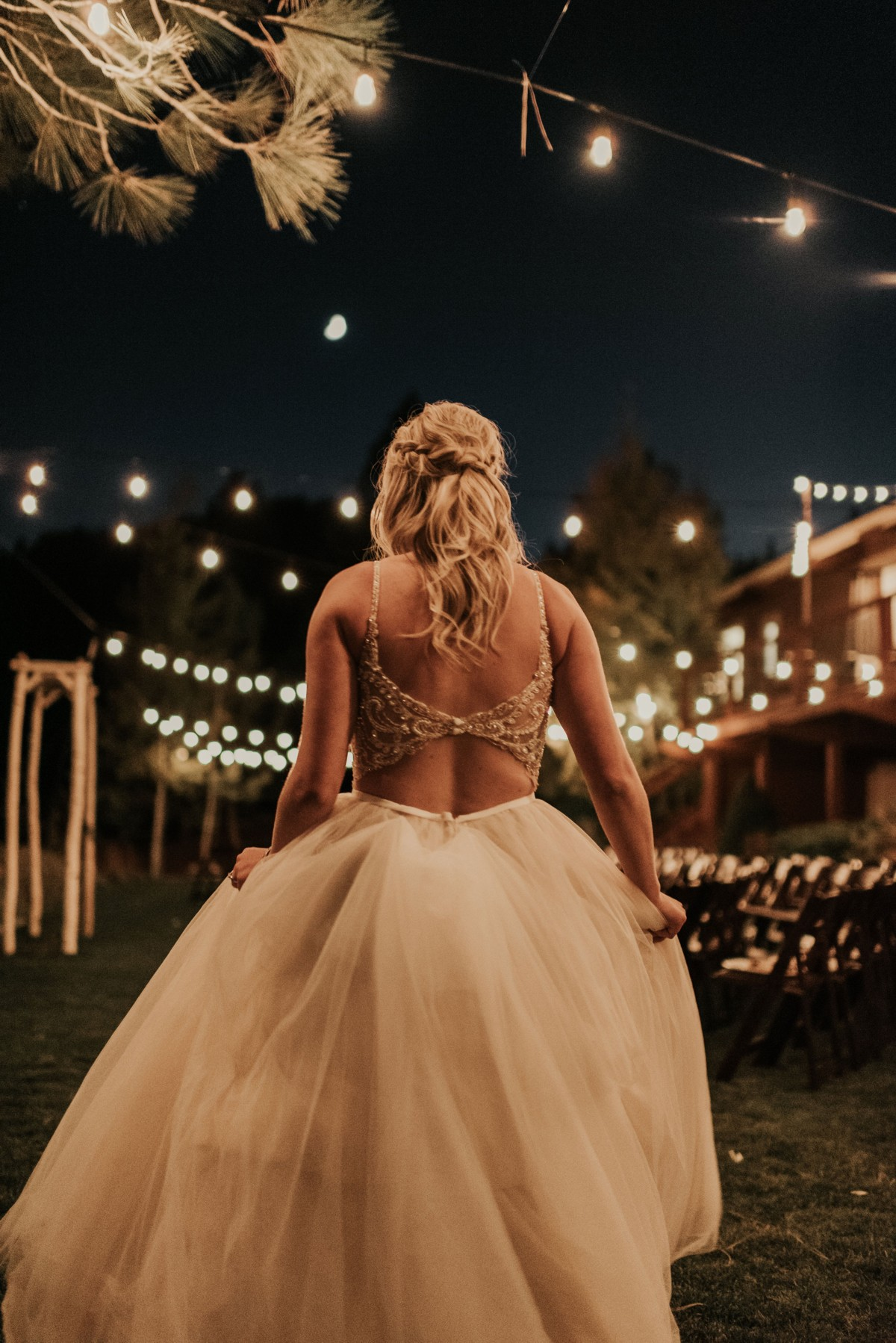 Tannenbaum by Roundabout Lake Tahoe wedding - bride at night