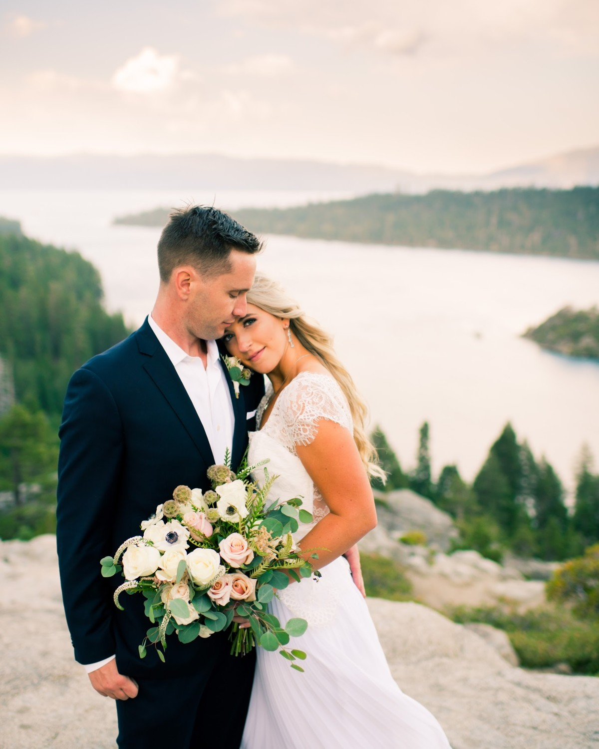 Emerald Bay is a magic location - bouquet by Lake Tahoe florist Create with T