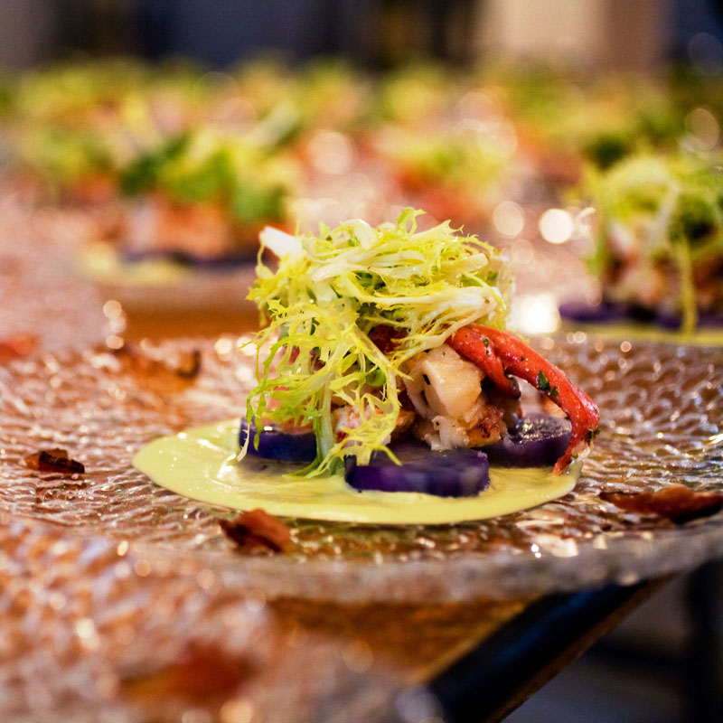 salad course plated and served by caterer