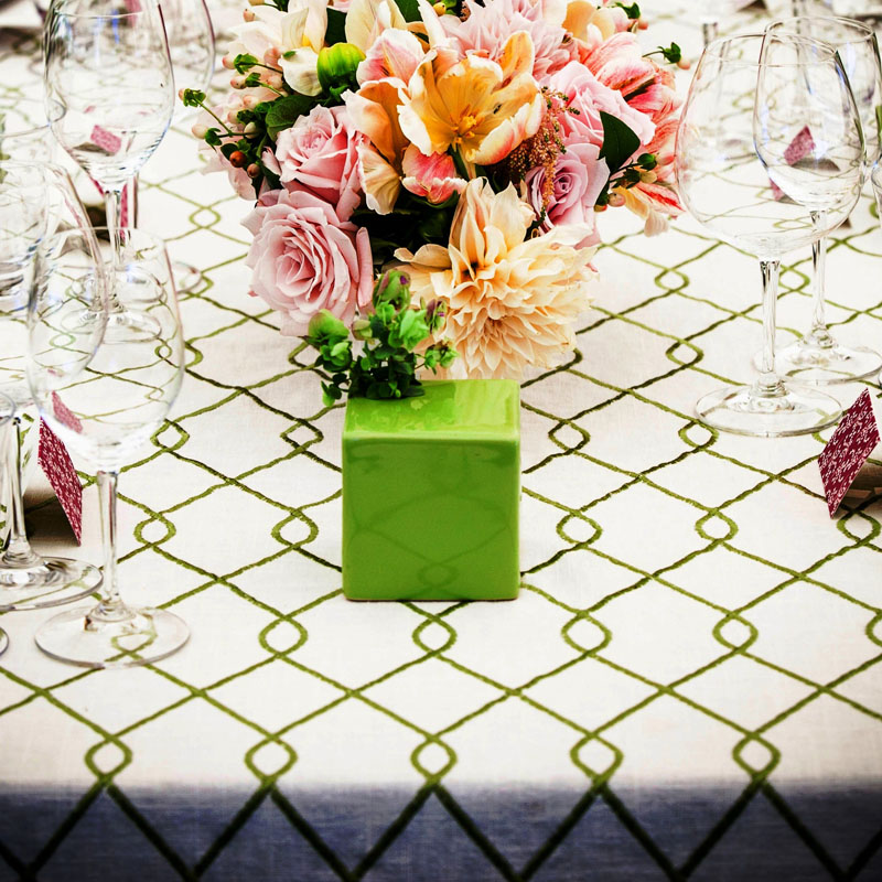 linen used on dining table at wedding reception