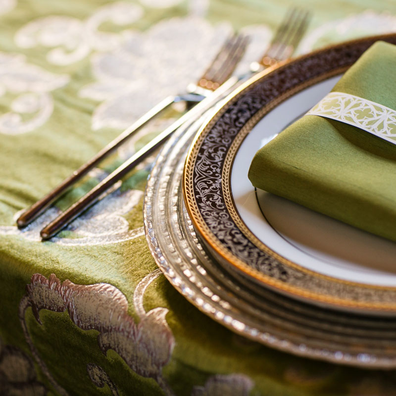 silverware china and napkin wedding table setting
