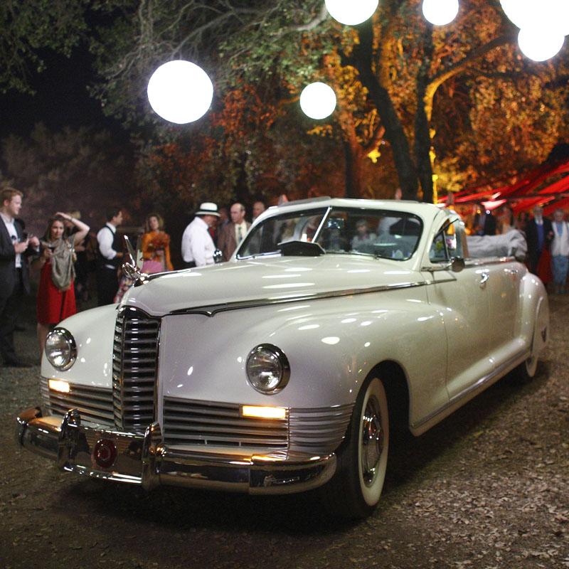 classic car at a wedding