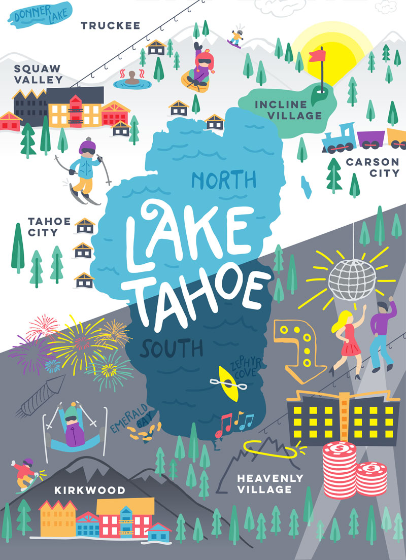 This is a photo of Lively Printable Map of Lake Tahoe