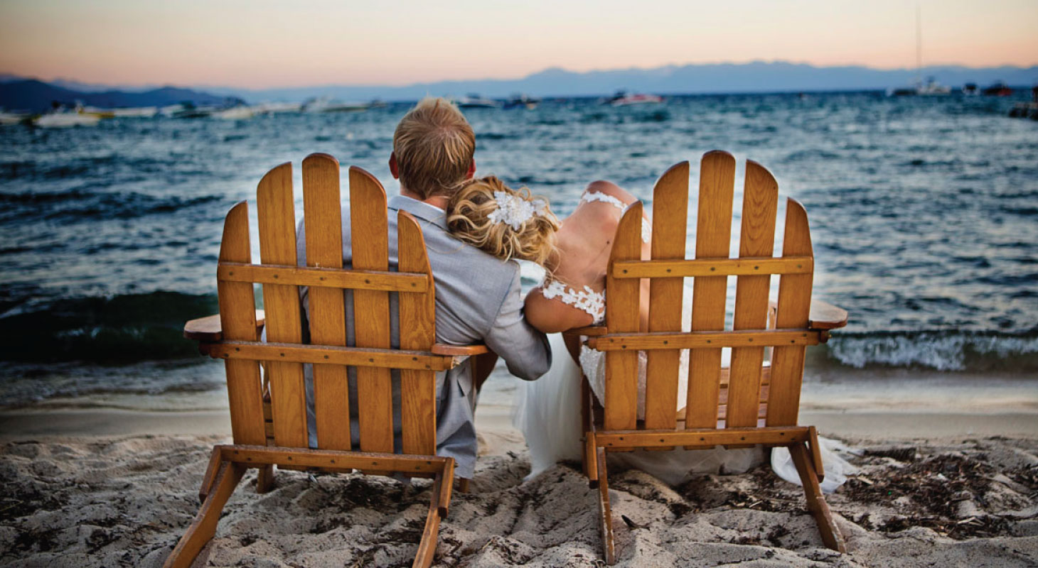 wedding couple relaxing by the shores of Lake Tahoe