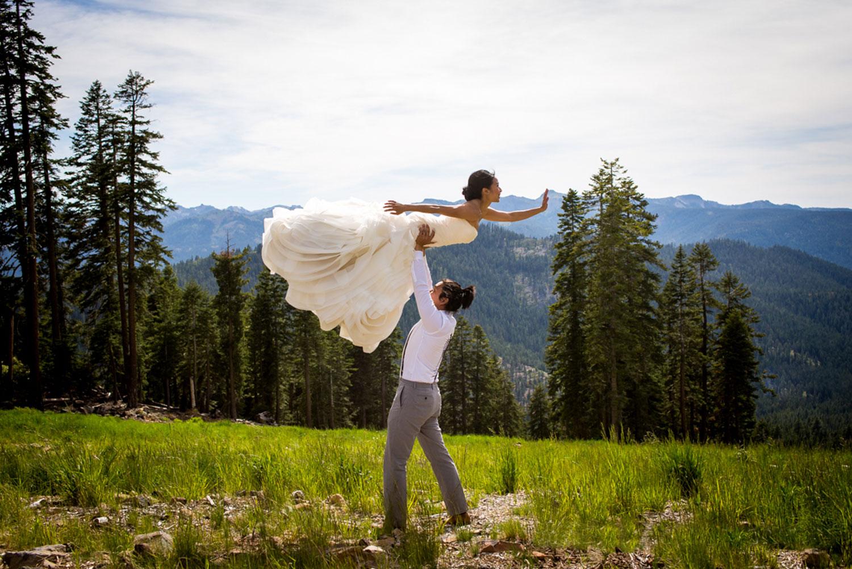 bride and groom ballet pose Northstar California