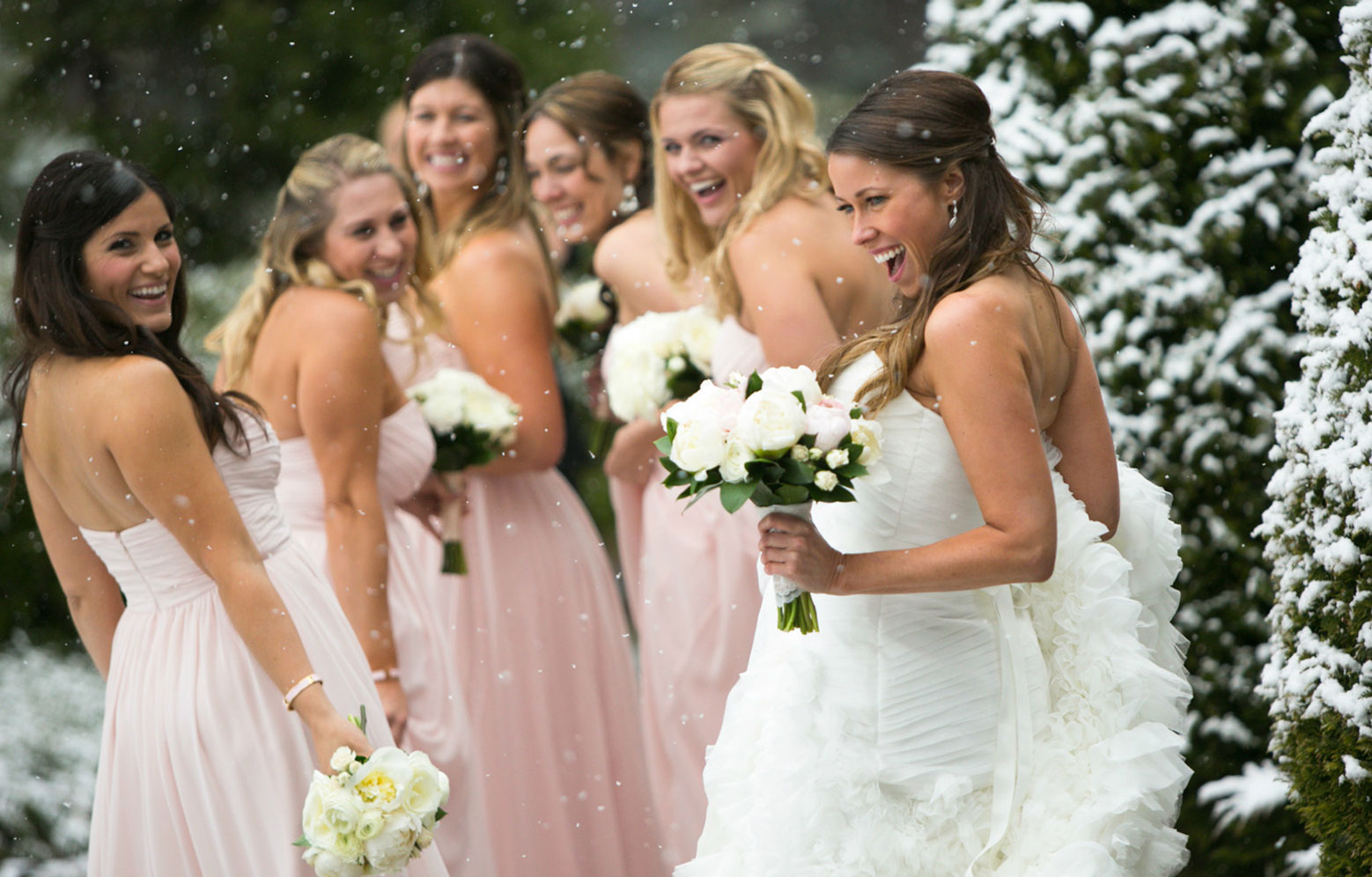 bride and bridesmaids winter wedding Lake Tahoe