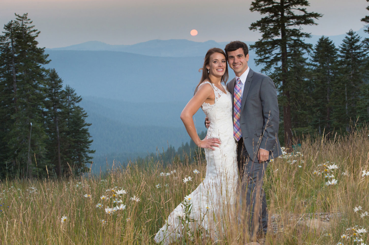 wedding couple Northstar California mountain views at sunset