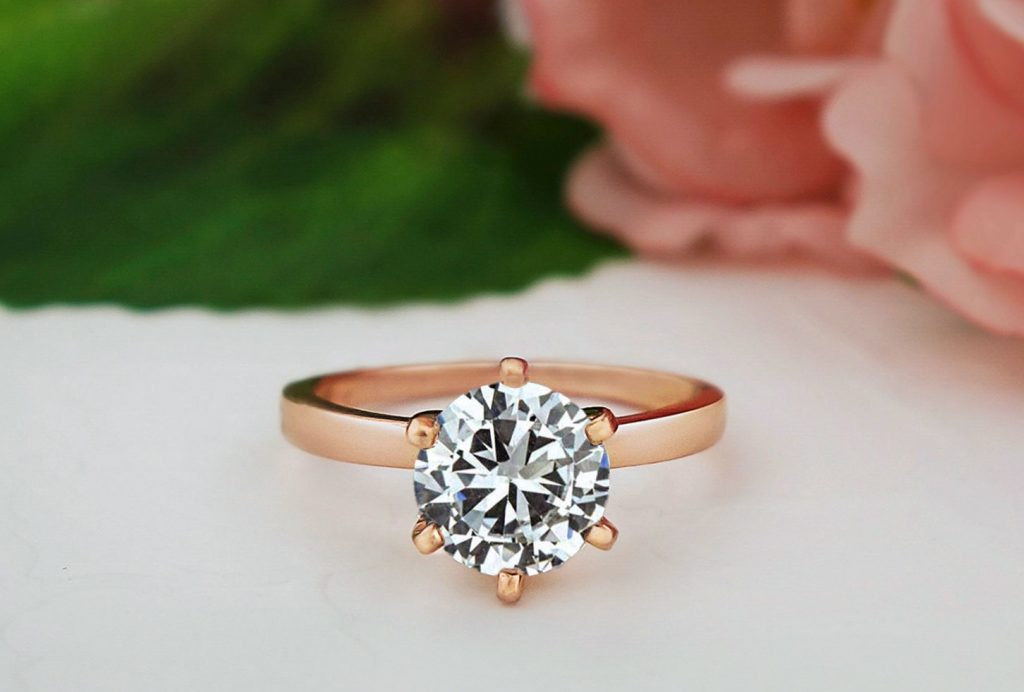 engagement ring with 6 prongs