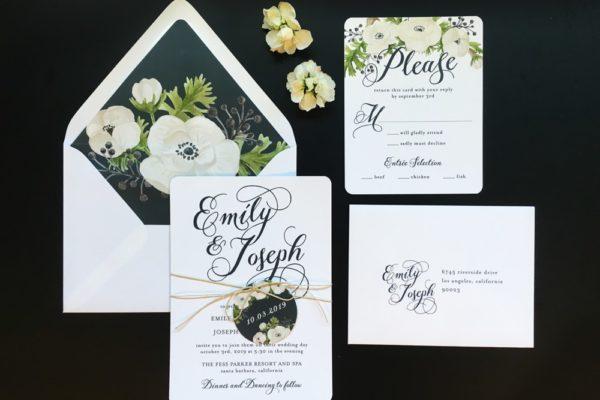 white floral wedding invitation set Lake Tahoe
