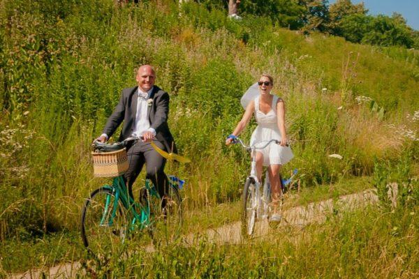 Wedding couple on bike ride