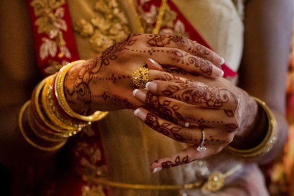 Lake Tahoe Indian wedding henna bride
