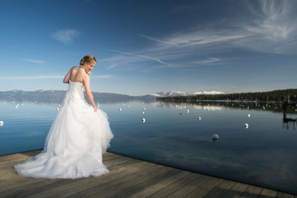 Bride on Pier Lake Tahoe wedding