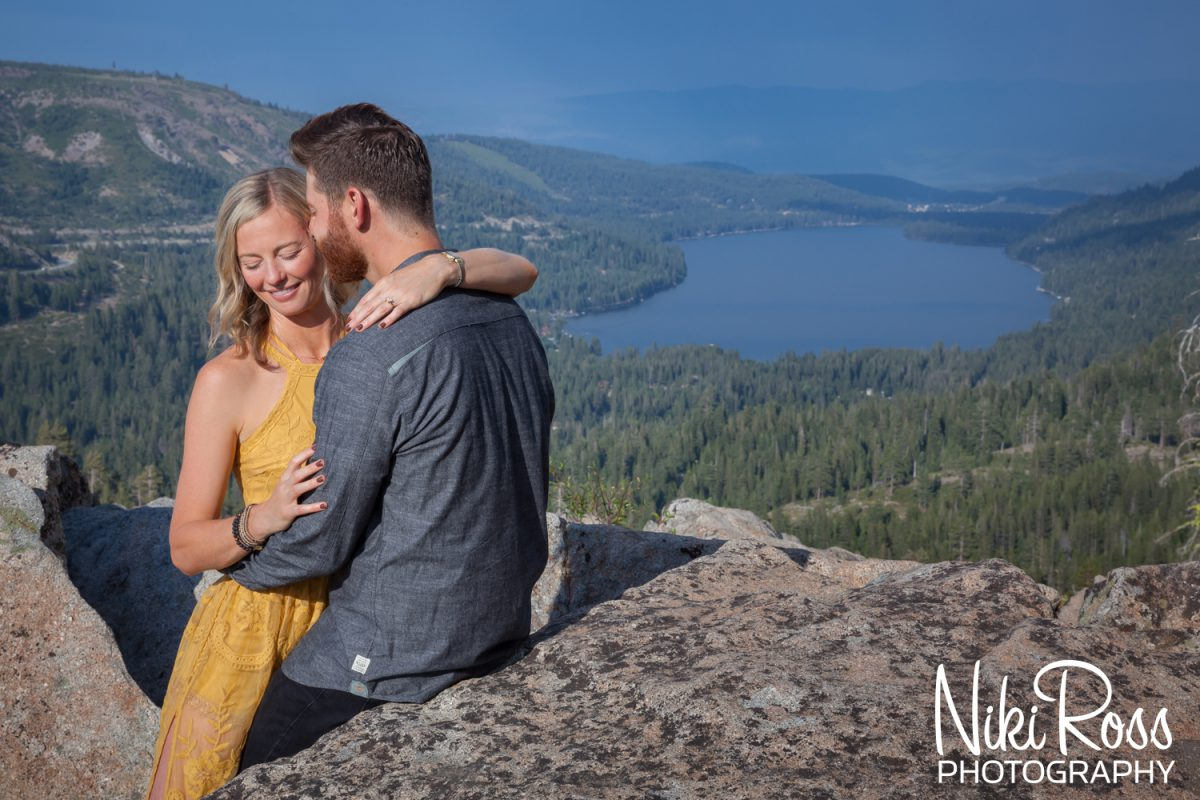 Donner Lake overlook engaged couple