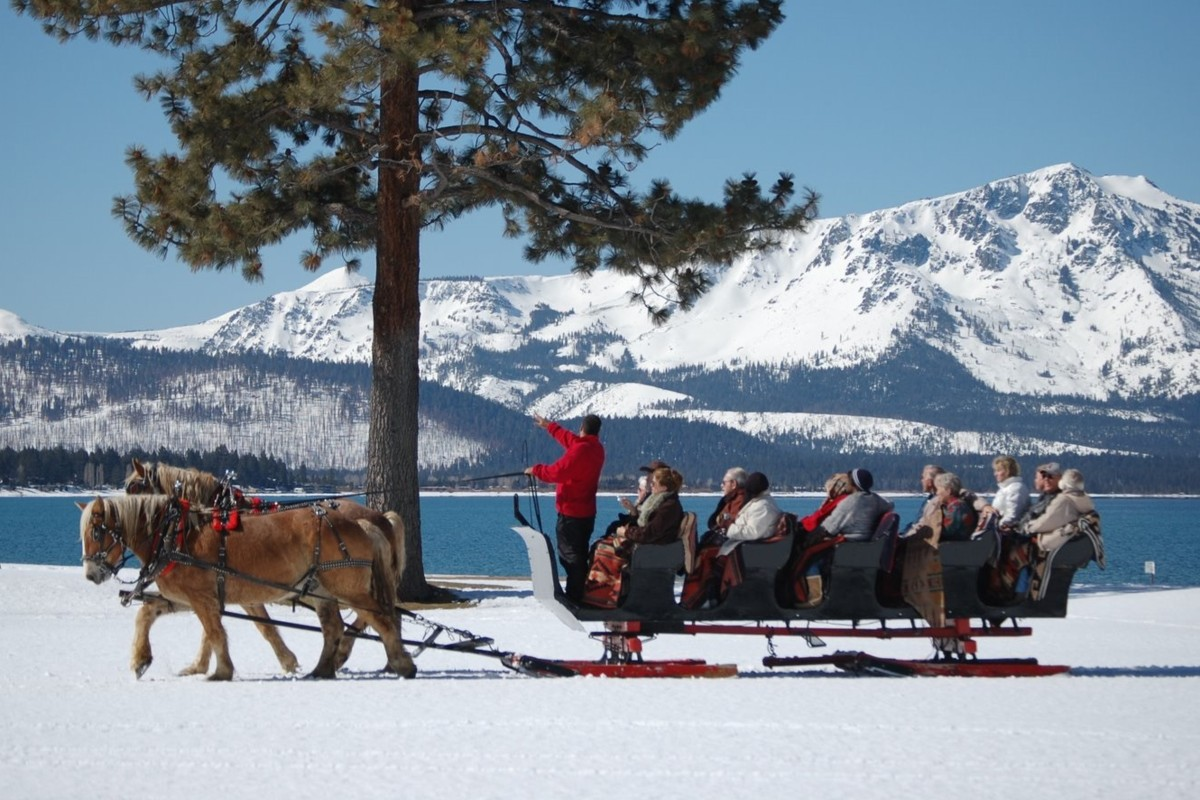sleigh rides at Sand Harbor Lake Tahoe wedding
