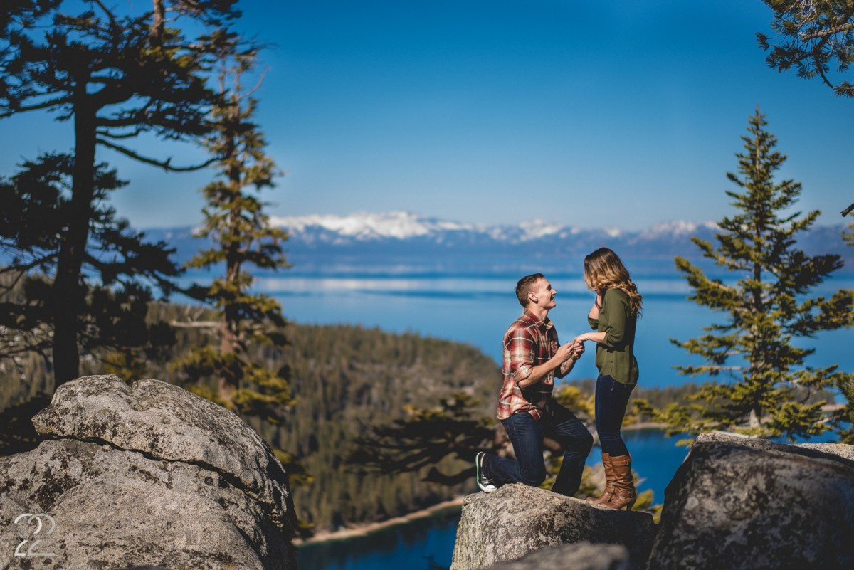 Proposal overlooking Lake Tahoe