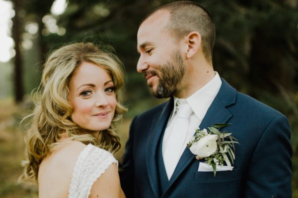 Glowing bride after hair and makeup by Love Is In The Hair Lake Tahoe wedding