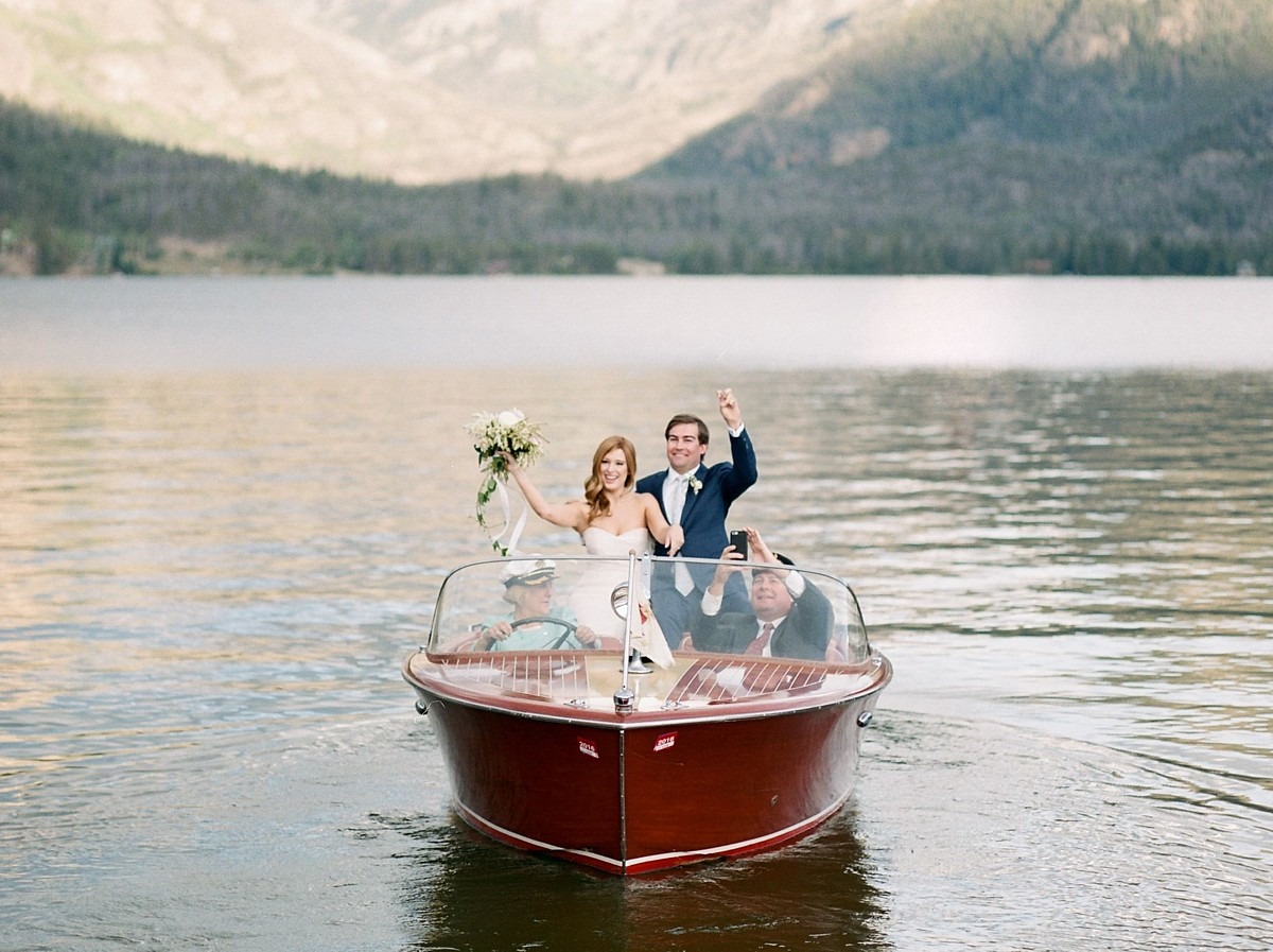 Wedding Couple in Woody Boat