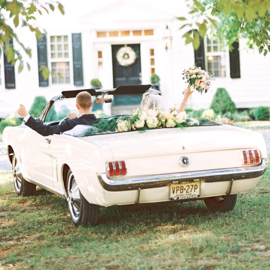 Wedding Transportation Couple in Vintage Mustang