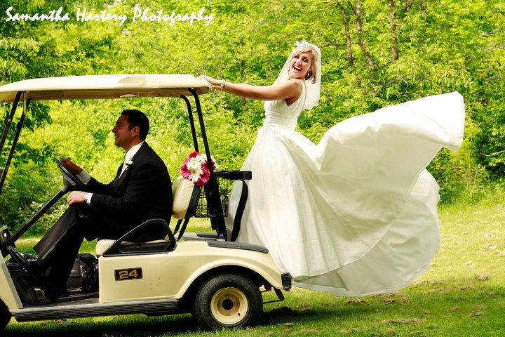 Wedding Transportation Couple on Golf Cart