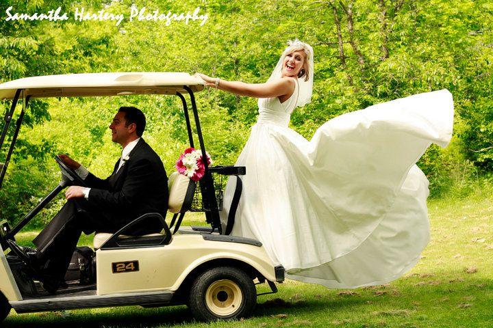 Wedding Transportation Couple on Golf Cart