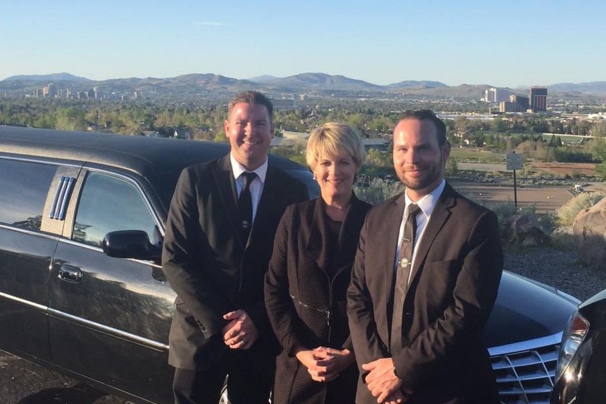 Danell Perlman-Wilson with wedding chauffeurs at Reno Tahoe Limousine
