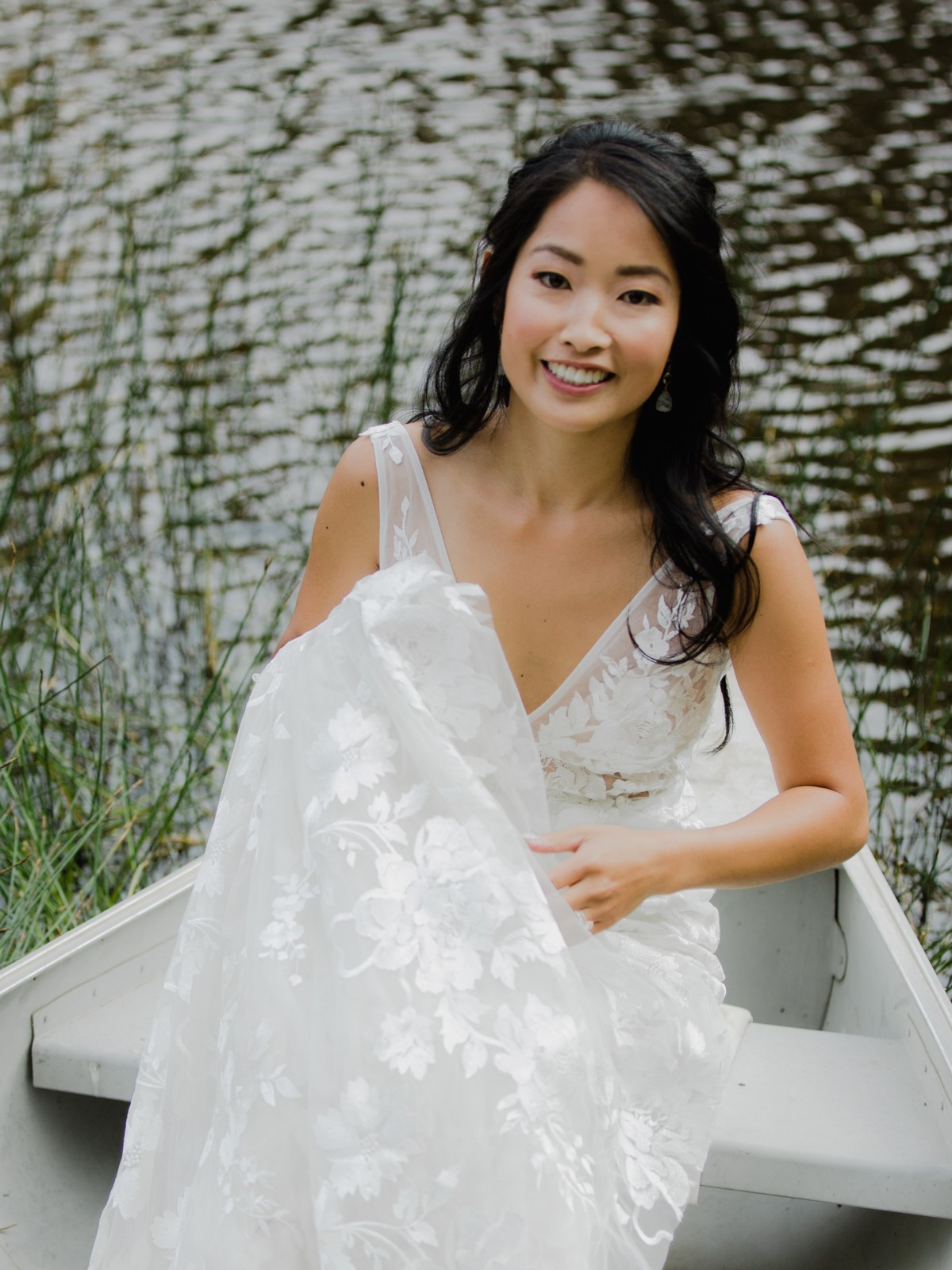 Bride looks fresh after hair and makeup by Love Is In The Hair Lake Tahoe wedding
