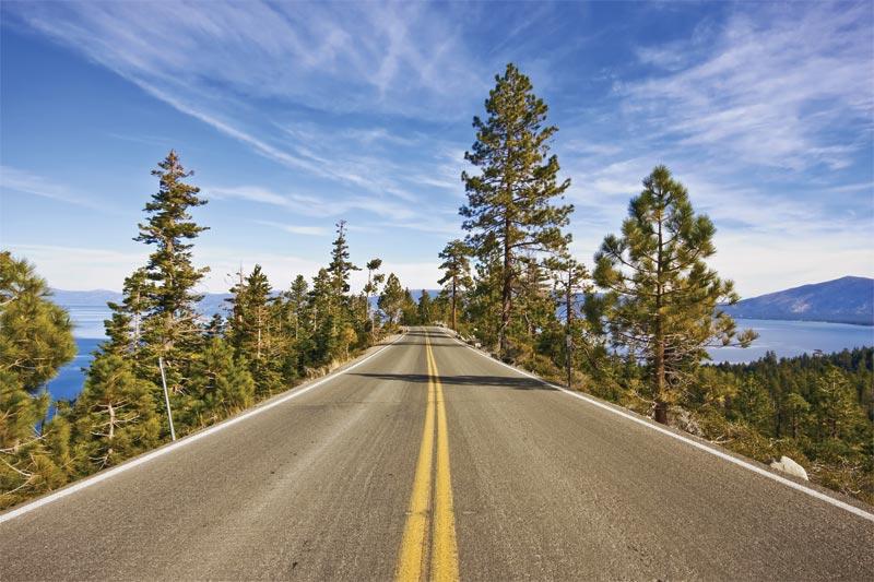 Lake Tahoe driving on roads