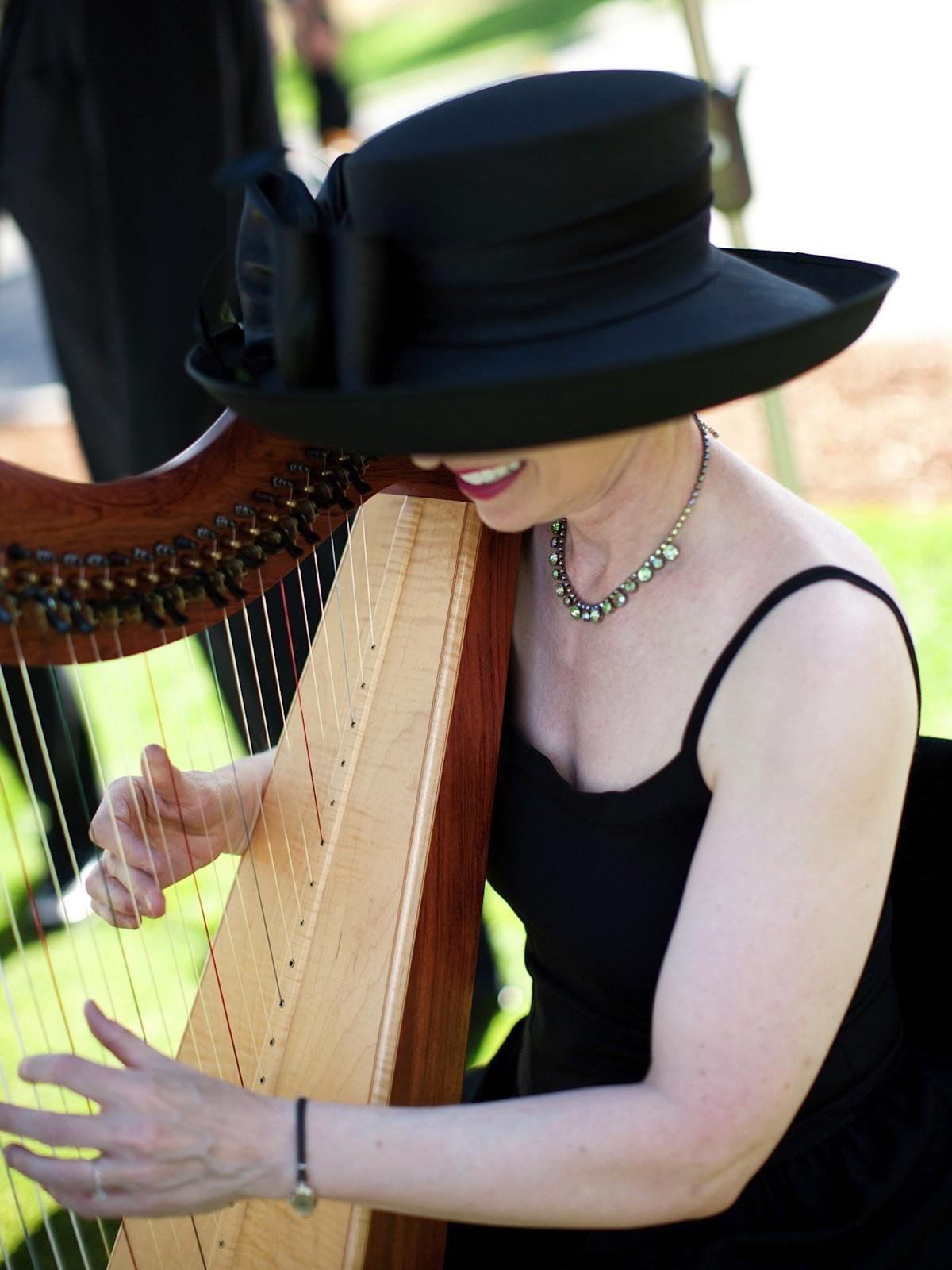 Anne Roos playing Celtic Harp at wedding Lake Tahoe