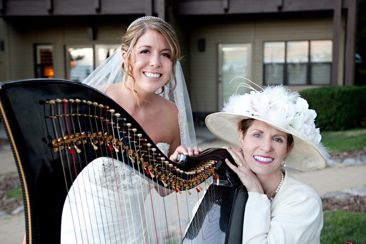 Anne Roos with bride and Celtic Harp wedding Lake Tahoe