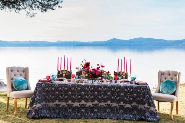 Dramatic and Bold Wedding Table at Thunderbird Lake Tahoe