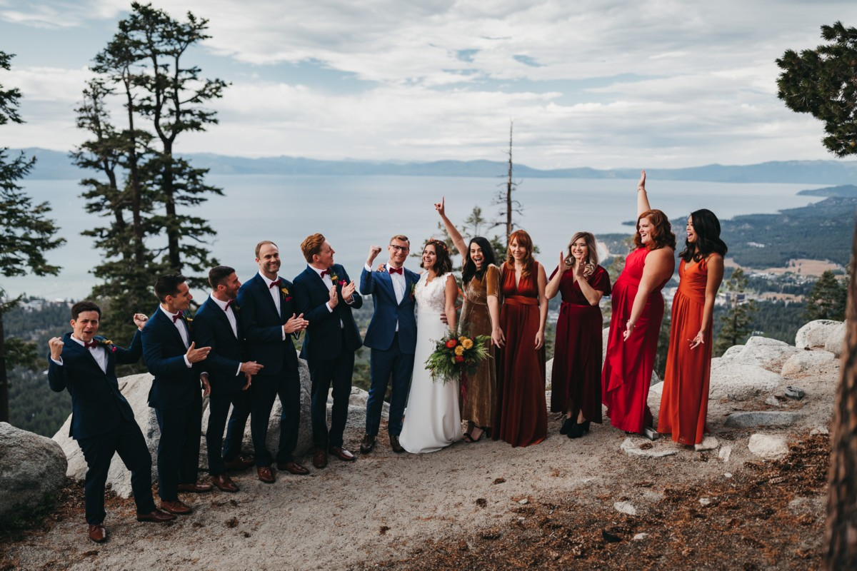 wedding party overlooking Lake Tahoe Heavenly wedding