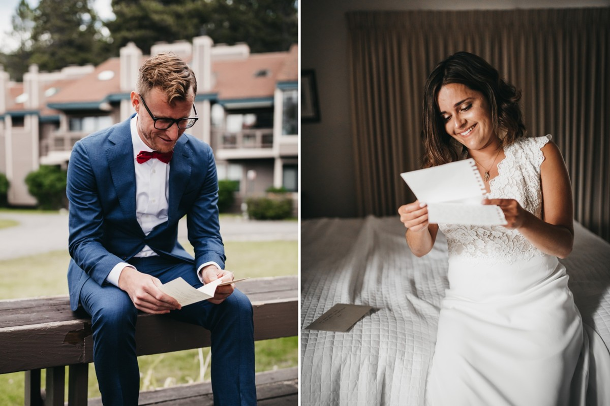 couple sending notes to each other before wedding in Lake Tahoe