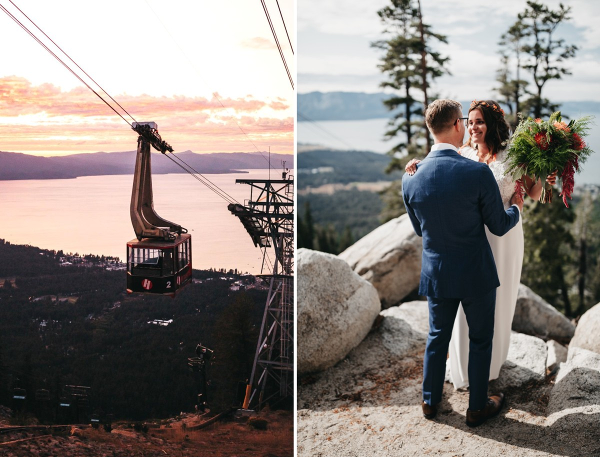 Heavenly Tram couple first look Lake Tahoe wedding