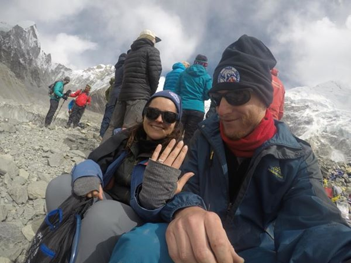 engaged at Everest Base Camp